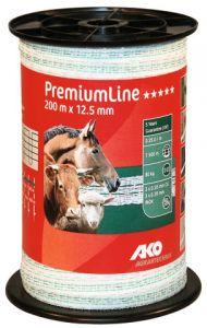 AKO PremiumLine schriklint wit/groen 12.5 mm 200m